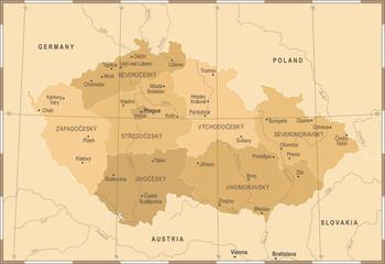 Czech Republic Map - Vintage Detailed Vector Illustration