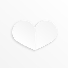 Paper heart Valentines day card on white background. abstract background with heart. Paper heart cut from paper.