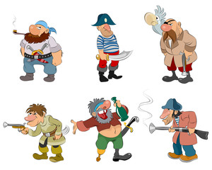 Cartoon pirates and robbers