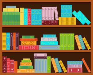 Bookshelf. Set of stacks of books.