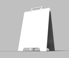 Crezon or PVC A-frame sandwich boards for design mock up and presentation. white blank 3d render illustration.