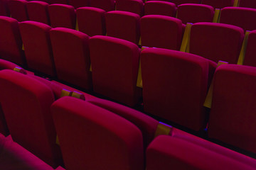 Red seats in cinema, theater, concert hall.