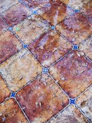 Background. Ceramic tile. Autumn. Rainy.