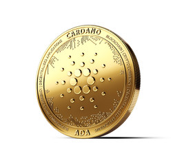 Golden CARDANO (ADA) cryptocurrency physical concept coin isolated on white background. 3D rendering