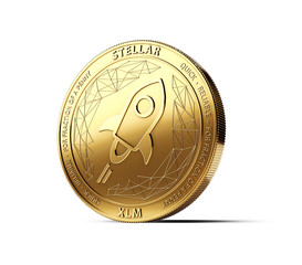 Golden STELLAR (XLM) cryptocurrency physical concept coin isolated on white background. 3D rendering