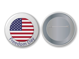 Vector white badge with Freedom Day text.
