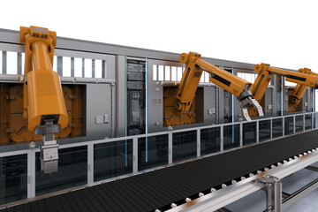 robotic machines with conveyor