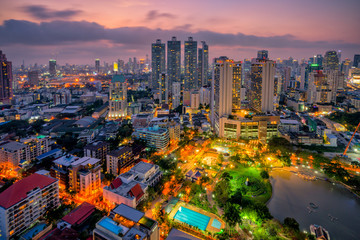 Wall Mural - Sunset scence of Bangkok skyline Panorama and Skyscraper