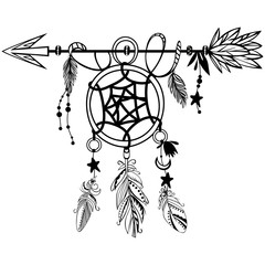Wooden Arrow with Dreamcatcher