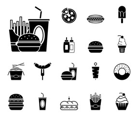 Fast Food - Iconset (in Schwarz)