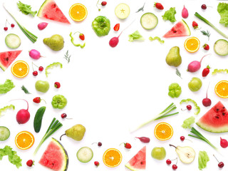 Fototapete - Frame of various vegetables and fruits isolated on white background with empty space for text, top view, flat lay. Concept of healthy eating.