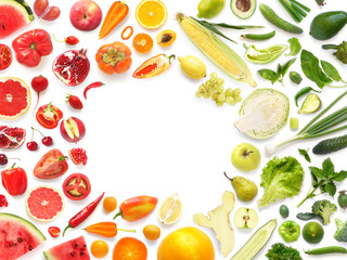 Frame of various vegetables and fruits isolated on white background with empty space for text, top view, flat lay. Concept of healthy eating.