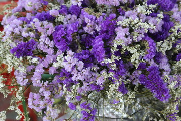 many beautiful violet and white flower bouquet. lovely purple floral bunch, nice nature background