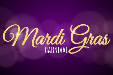 Flyer for Mardi Gras carnival. Gold glitter text with golden sparkles. Abstract bokeh lights. Gold particles shine. Vector