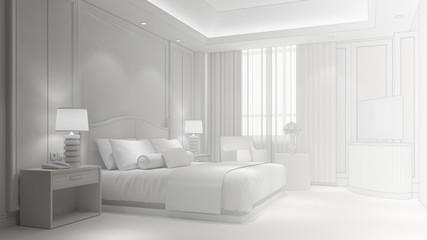 Hotelzimmer von weiß zu CAD Drahtgitter
