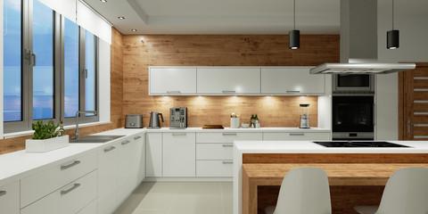 Beleuchtung in weißer Küche bei Nacht Fototapete