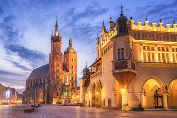 Cloth Hall and St Mary s Church at Main Market Square in Cracow, Poland Wall mural