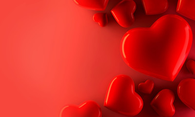 Red heart background, love valentine day