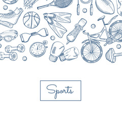 Vector hand drawn sports equipment illustration
