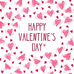 """Valentine day card with hand drawing hearts on white background. Vecor illustration with text """"Happy Valentine's day"""". Can be used as print for phone cases, greeting card, banner, invitation, flyer."""