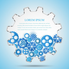The gear engineering construction template design blue background, vector illustration