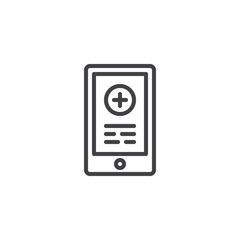 Emergency call line icon, outline vector sign, linear style pictogram isolated on white. Mobile phone with medical cross on screen symbol, logo illustration. Editable stroke