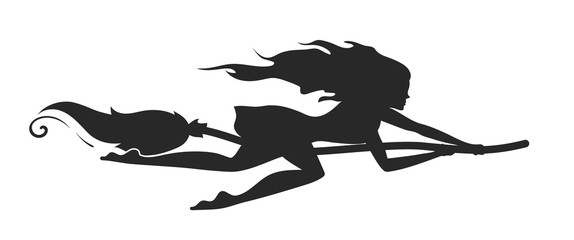 Vector silhouette of a rapid witch flying on a broomstick