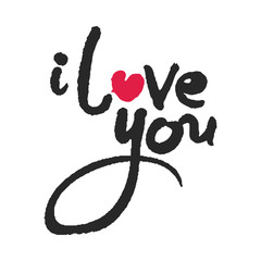 I Love You Calligraphy Lettering with Red Heart