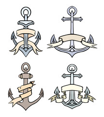 Set of vintage multicolored anchors with paper ribbon. Hand drawn illustration. Vector element for tattoos, print for t-shirts, coloring, emblems and for your design.