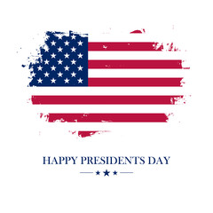 USA Happy Presidents Day greeting card with brush stroke background in american national flag colors. Vector illustration.