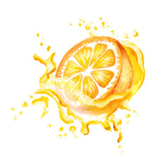 Fresh orange in splash of juice isolated on white background. Watercolor hand drawn illustration