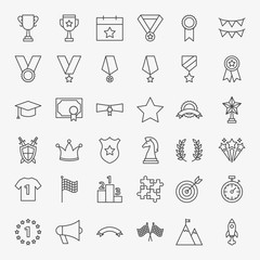 Winning Award Line Icons Set