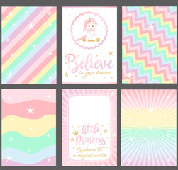 "Set of colored pastel vector cards for party invitation. Rainbow background.""Unicorn"" baby shower. Slogan: ""Believe in your dreams. Little princess. Welcome in magical world"". Pink text and gold crown"