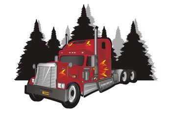 car, truck, freight, trailer, American trailer, cargo, truck, truck trailer, fire, American truck, illustration, transportation, tree, shadow