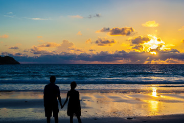 The rear view silhouette of a loving couple holding hands during sunset on a beach.