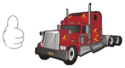 car, truck, freight, trailer, American trailer, cargo, truck, truck trailer, fire, American truck, illustration, transportation, hand, gesture