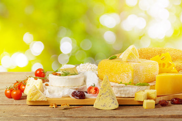 Tasty beautiful cheese composition on wooden board