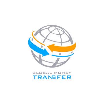 Global money transfer symbol