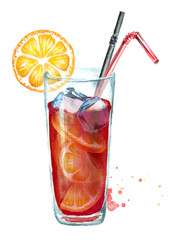 Sangria with orange and ice cubes. Watercolor hand drawn illustration, isolated on white background