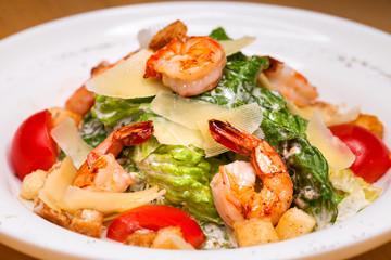 Seafood Caesar Salad with Shrimps