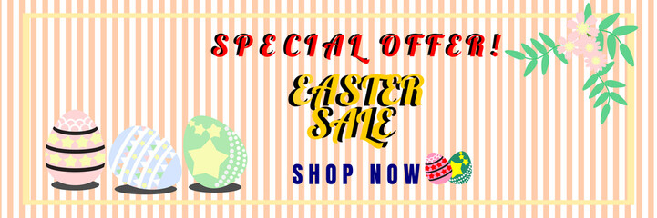 Vector illustration of Easter sale banner with Easter eggs for online shopping, advertising and website. Pastel tone.