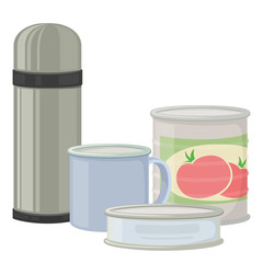 Thermos and canned goods for camping tourism, cartoon illustration of travel equipment. Vector
