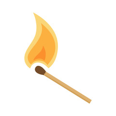 Burning match on white background, cartoon illustration. Vector