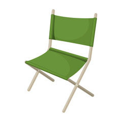 Folding chair camping tourism, cartoon illustration of travel equipment. Vector