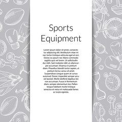 Vector hand drawn sports equipment background