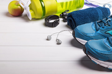 Fitness accessories on the white background