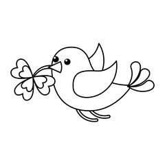 bird flying with clover in beak vector illustration outline design