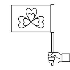hand holding flag with clover symbol vector illustration outline design