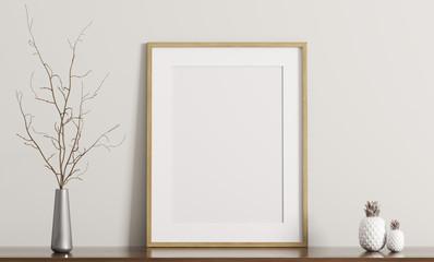 Shelf with frame 3d rendering