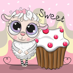 Greeting card Cute Sheep with cake